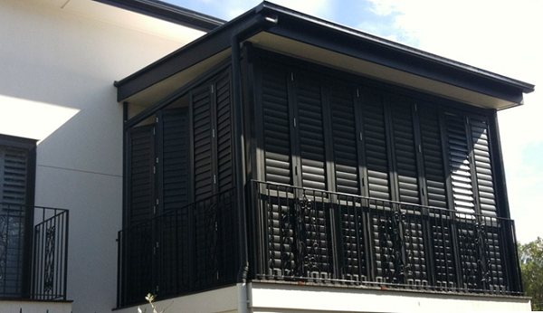 Black Aluminium Outdoor Plantation Shutters