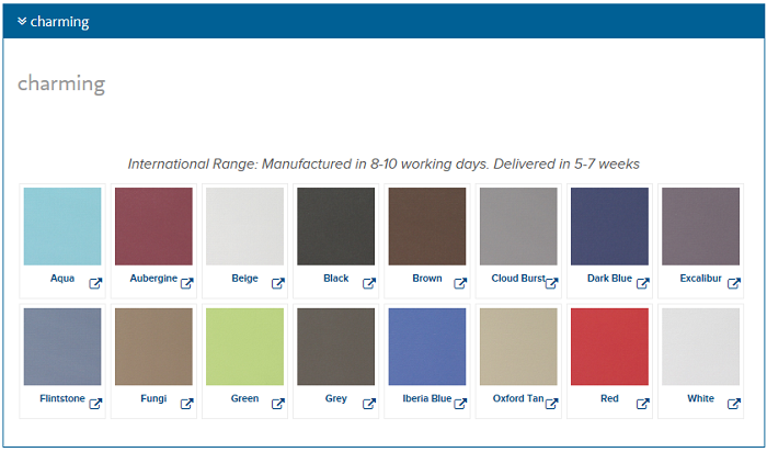 Roller Blind Blockout Charming Colour Chart