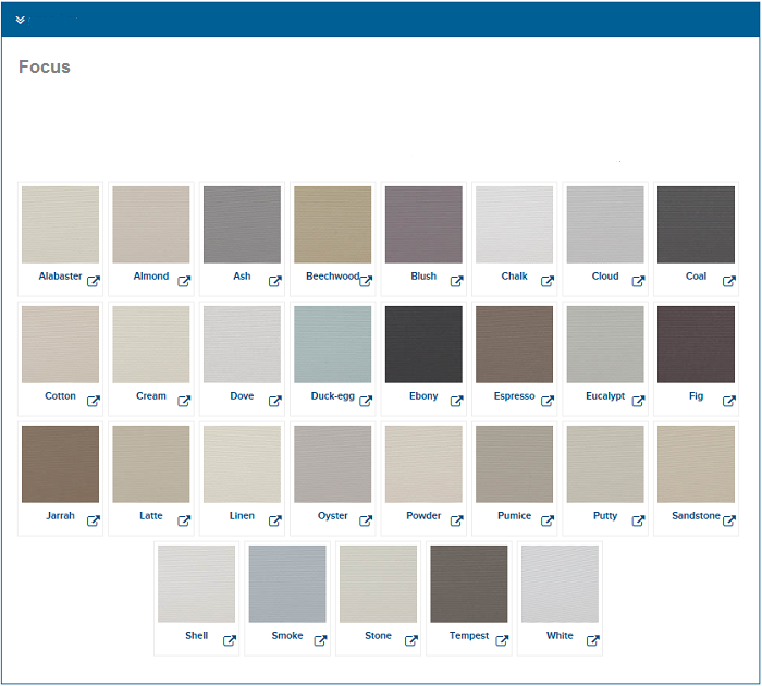 Etonnant Blinds Colour Chart
