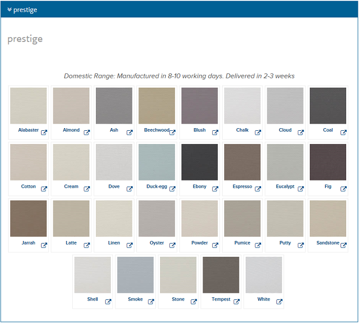 Roller Blind Blockout Prestige Colour Chart