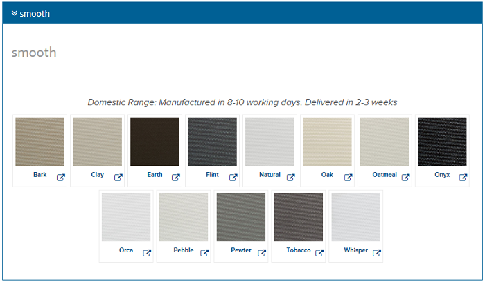 Roller Blind Blockout Smooth Colour Chart