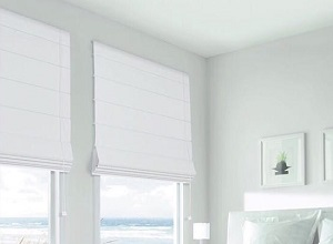 White Blockout Roman Blinds