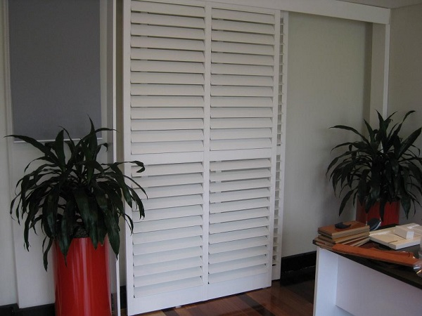 White PVC Sliding Plantation Shutters
